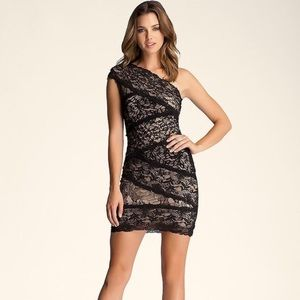 Bebe Mixed Lace One Shoulder Dress NWT